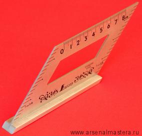 Шаблон угловой с упором 172х62мм c доп.углом 45гр и метрич.шкалой Shinwa 62060 М00015762