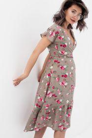 Платье на запах бежевое/цветы арт 3021.1.2