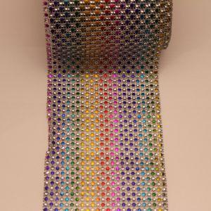 """Лента декоративная """"имитация страз"""", ширина 12 см, длина 10 ярдов, цвет: радуга 2"""
