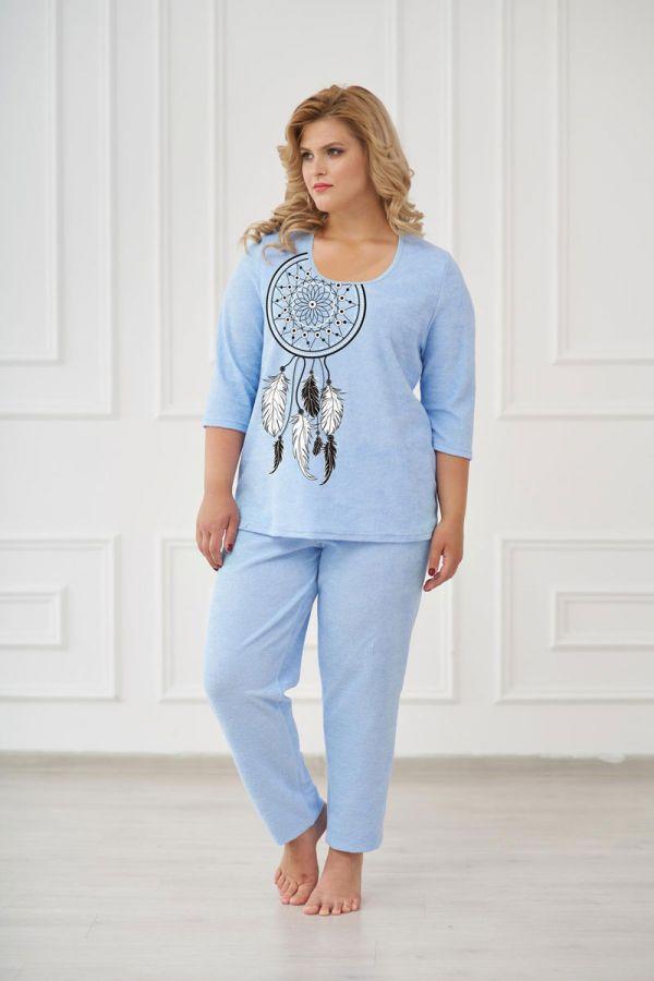Пижама женская арт.0661 голубая, махра