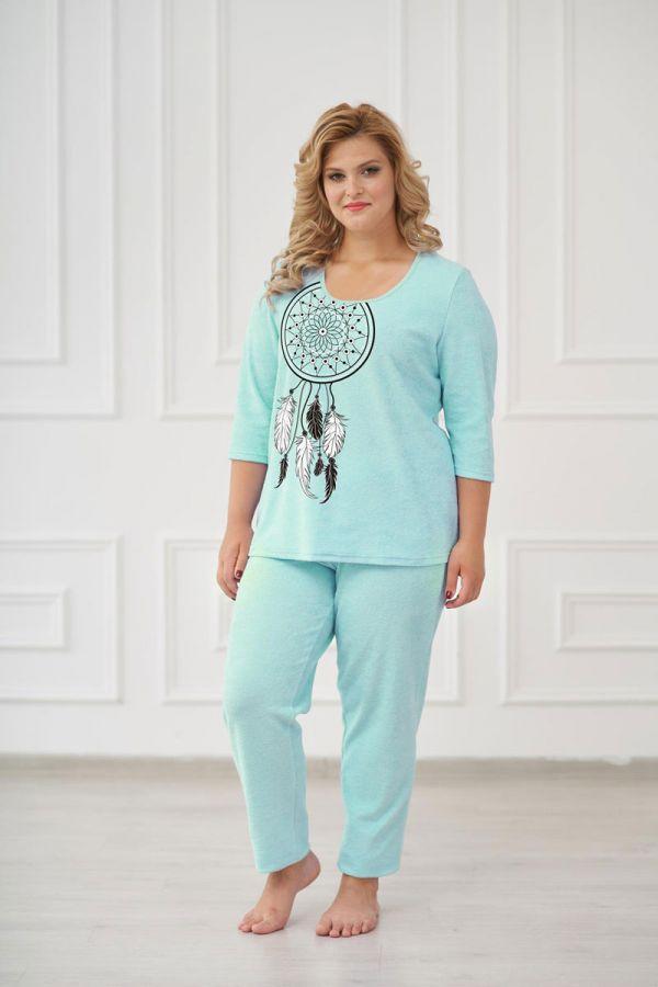 Пижама женская арт.0661 ментоловая, махра
