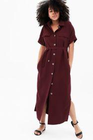 Платье-рубашка бордовое арт 3022.1.3