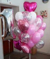 Композиция из шаров в розовых тонах с сердцами и звездами