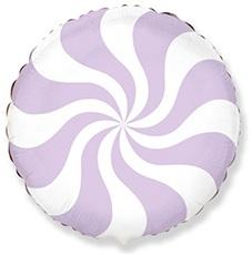 Круг леденец лиловый шар фольгированный с гелием