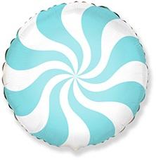 Круг леденец голубой шар фольгированный с гелием