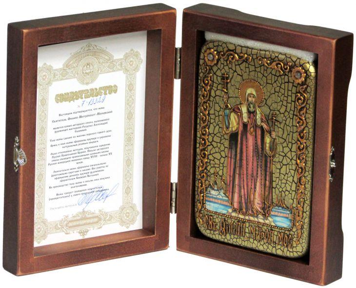 Инкрустированная икона Святитель Филипп, митрополит Московский (10*15 см, Россия) на натуральном мореном дубе, в подарочной коробке