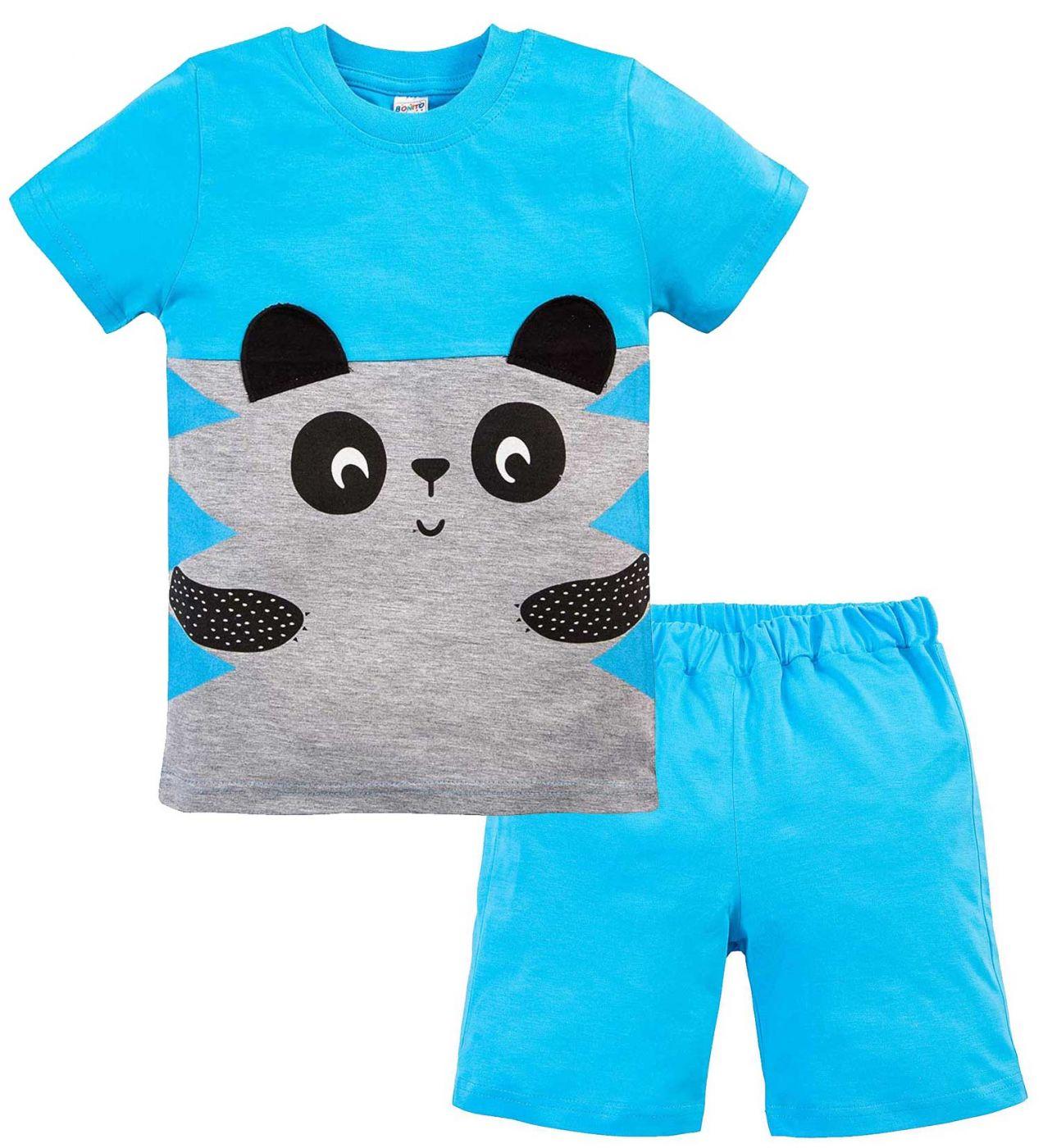 Костюм для мальчика Bonito голубой с мордочкой панды