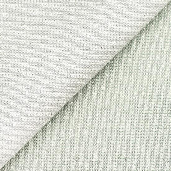 Лоскут трикотажной ткани кашкорсе Серебряный с люрексом