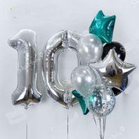 Набор шаров на 10 лет Тиффани с серебром