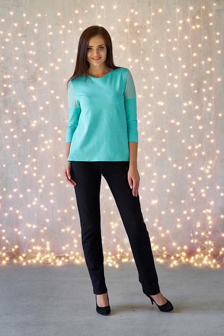 Блуза арт.0166-14 ментол, футер+шифон