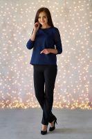Блуза арт.0166-34 синяя, футер+шифон