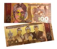 100 РУБЛЕЙ - BEATLES .СУВЕНИРНАЯ ПЛАСТИК ПОЗОЛОТА