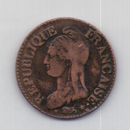 5 сантимов 1796 года XF Франция LAN 5