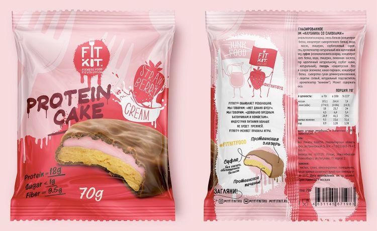 Fit Kit Protein Cake 70 гр Клубника со сливками