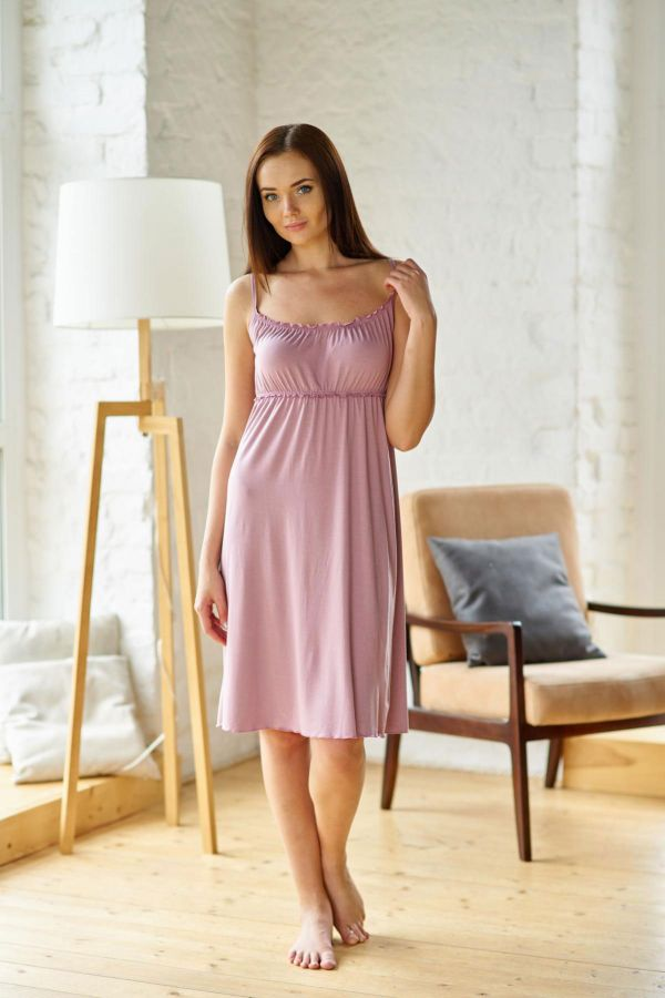 Ночная сорочка арт.0011-48 пепельно-розовая, вискоза