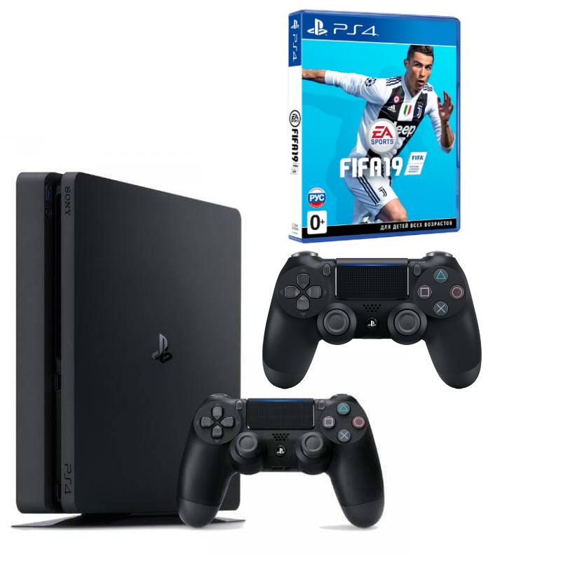 Sony Playstation 4 Slim 500 ГБ (CUH-2008A) + FIFA 19 (рус.) + второй джойстик