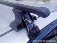 Универсальный багажник на крышу D-Lux 1 на Chevrolet Lanos, стальные прямоугольные дуги