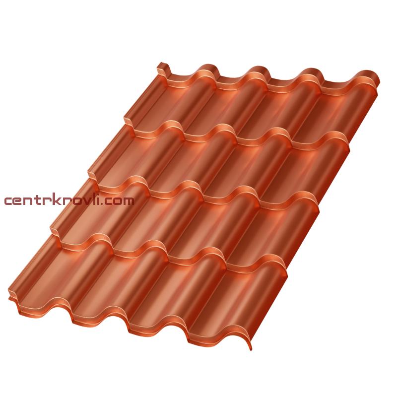 Металлочерепица МП Монтерроса-X (AGNETA-20-CopperCopper-0.5)
