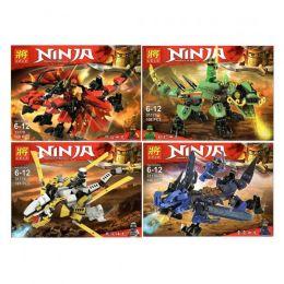 Набор 4 мини-конструктора Ninja «Четыре дракона»  101-109 деталей