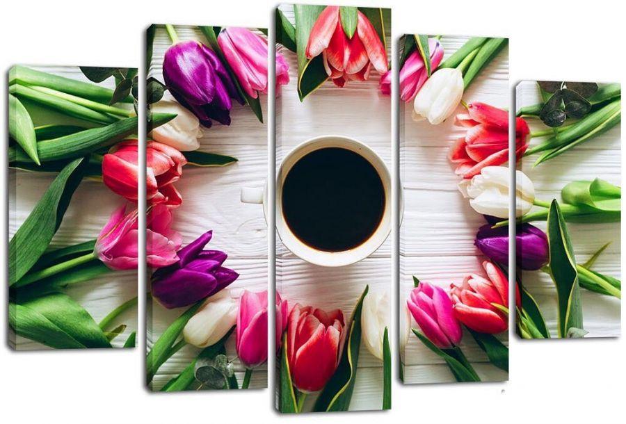 Модульная картина Тюльпаны и кофе