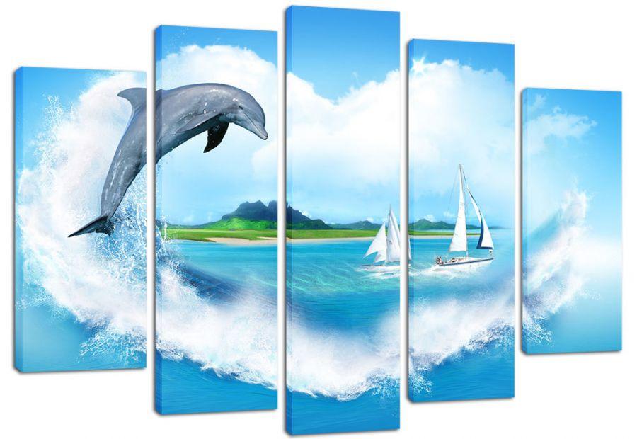 Модульная картина Прыжок дельфина
