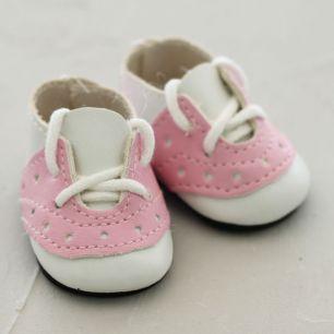 Обувь для кукол - мокасины 5 см (бело-розовые)