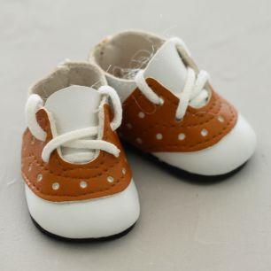 Обувь для кукол - мокасины 5 см (бело-коричневые)