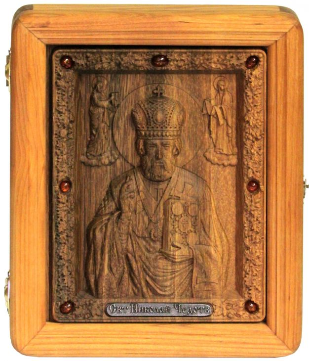 резная икона Святитель Николай (Чудотворец) (18*23 см, Россия) на мореном дубе в подарочной коробке