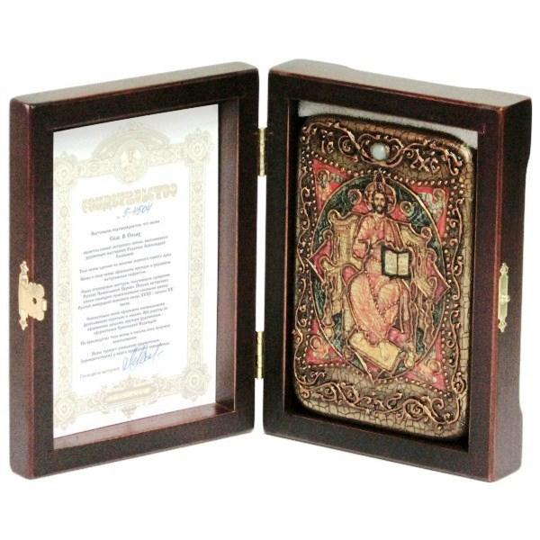 Инкрустированная настольная икона Спас в Силах (10*15 см, Россия) на натуральном мореном дубе, в подарочной коробке