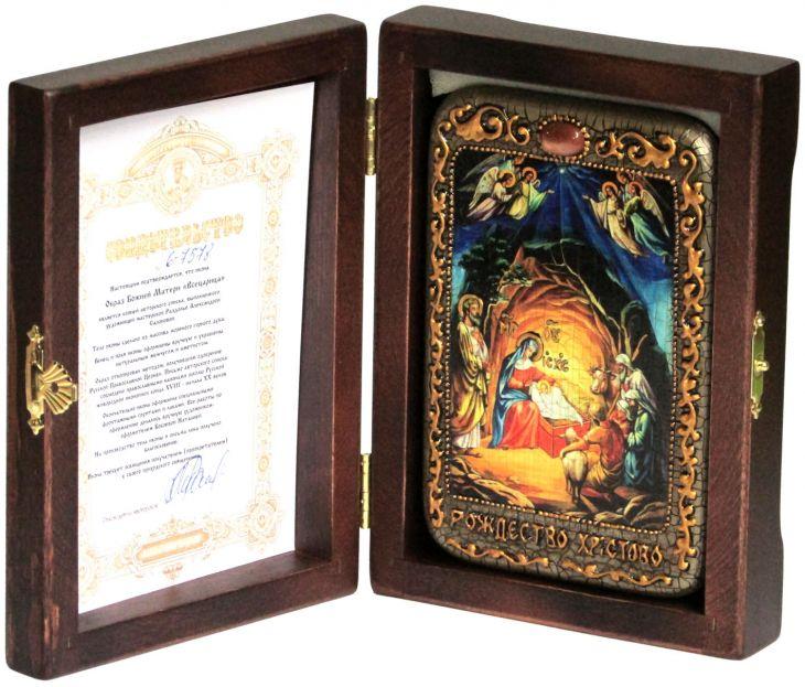 """Настольная икона """"Рождество Господа Бога и Спаса нашего Иисуса Христа"""" на мореном дубе"""