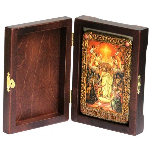 Инкрустированная настольная икона Воскресение Христово - Пасха (10*15 см, Россия) на натуральном мореном дубе, в подарочной коробке