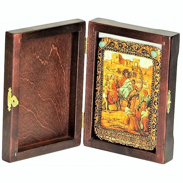 Инкрустированная настольная икона Вход Господень В Иерусалим (10*15 см, Россия) на натуральном мореном дубе, в подарочной коробке