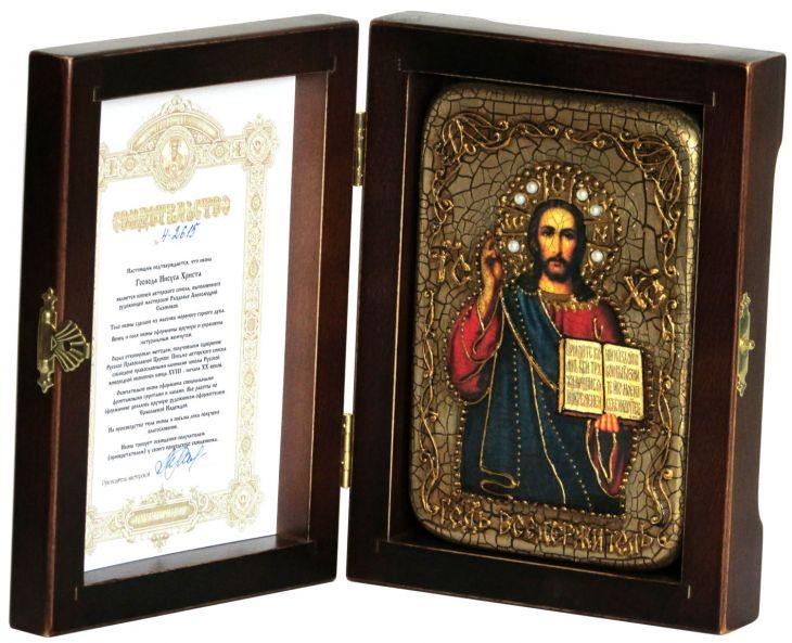 Настольная икона Господа Иисуса Христа (10*15 см, Россия), на мореном дубе, инкрустированная, в подарочной коробке