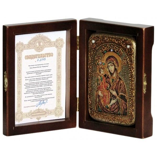 Инкрустированная настольная икона Божией Матери Троеручица (10*15 см, Россия) на натуральном мореном дубе, в подарочной коробке