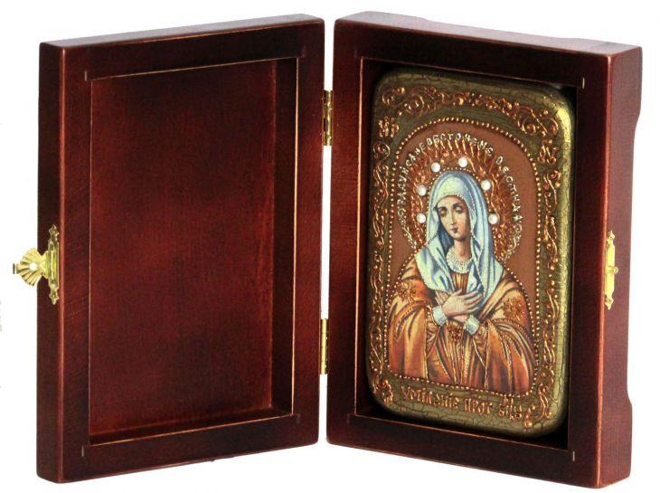 Инкрустированная настольная икона Умиление Серафимо-Дивеевская (10*15 см, Россия) на натуральном мореном дубе, в подарочной коробке