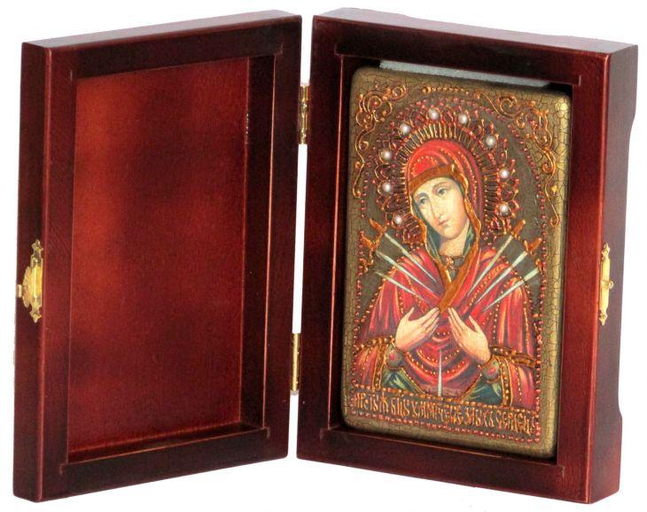 Инкрустированная настольная икона Божией Матери Умягчение злых сердец (10*15 см, Россия) на натуральном мореном дубе, в подарочной коробке