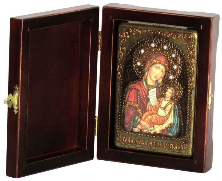 Инкрустированная настольная икона Божией Матери Утоли моя печали (10*15 см, Россия) на натуральном мореном дубе, в подарочной коробке