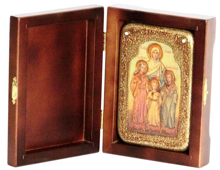 Настольная икона Вера, Надежда, Любовь и мать их София (10*15 см, Россия), инкрустированная жемчугом, в подарочной коробке