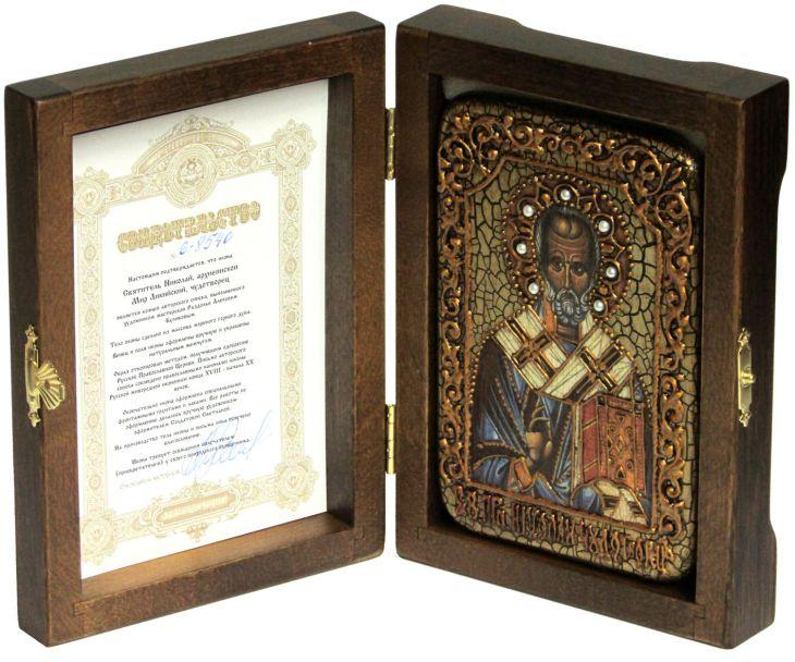 Инкрустированная икона Святитель Николай, архиепископ Мир Ликийский (Мирликийский) (10*15 см, Россия) на натуральном мореном дубе в подарочной коробке