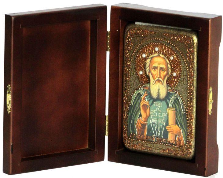 Инкрустированная настольная икона Преподобный Сергий Радонежский чудотворец (10*15 см, Россия) на натуральном мореном дубе, в подарочной коробке
