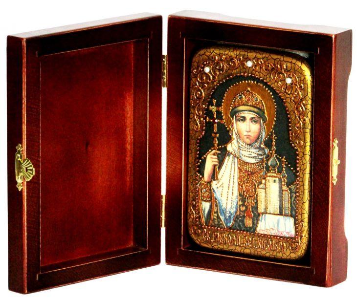 Инкрустированная настольная икона Святая Равноапостольная княгиня Ольга (10*15 см, Россия) на натуральном мореном дубе, в подарочной коробке