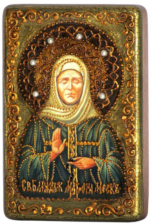 Инкрустированная рукописная икона Святая мученица Параскева Пятница (10*15 см, Россия) на натуральном мореном дубе в подарочной коробке