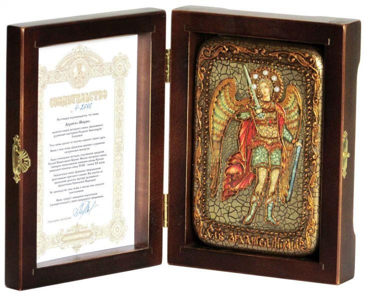 Настольная икона Архангел Михаил (10*15 см, Россия), инкрустированная жемчугом, в подарочной коробке