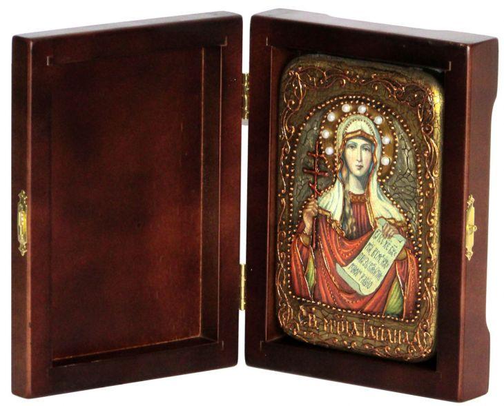 Инкрустированная настольная икона Святая мученица Татиана (10*15 см, Россия) на натуральном мореном дубе, в подарочной коробке