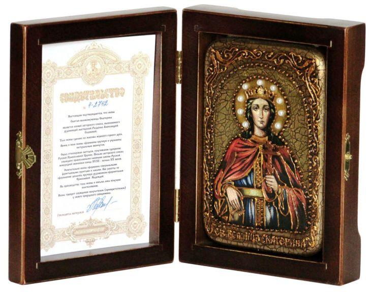 Инкрустированная настольная икона Святая великомученица Екатерина (10*15 см, Россия) на натуральном мореном дубе, в подарочной коробке