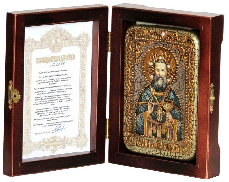 Инкрустированная настольная икона Святой праведный Иоанн Кронштадтский (10*15 см, Россия) на натуральном мореном дубе, в подарочной коробке
