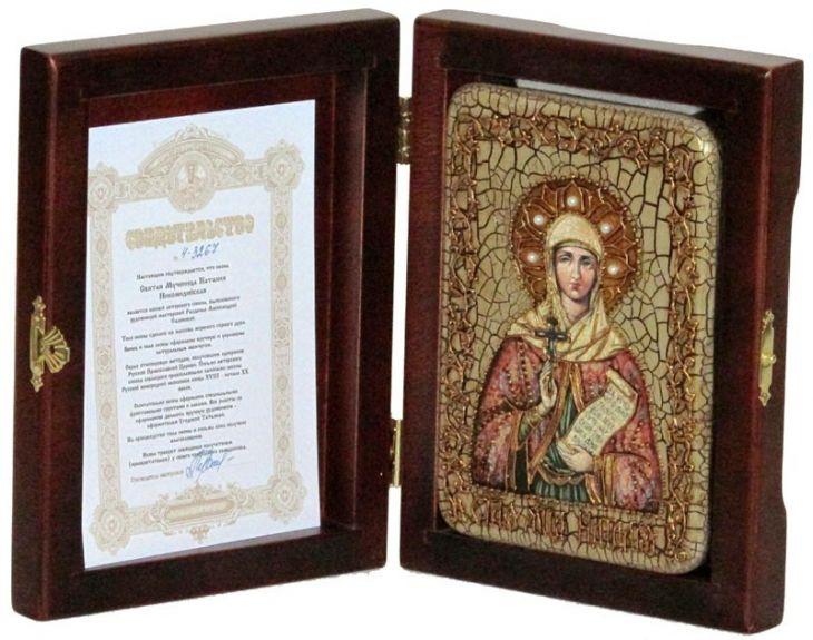 Инкрустированная настольная икона Святая Мученица Наталия Никомидийская (10*15 см, Россия) на натуральном мореном дубе, в подарочной коробке