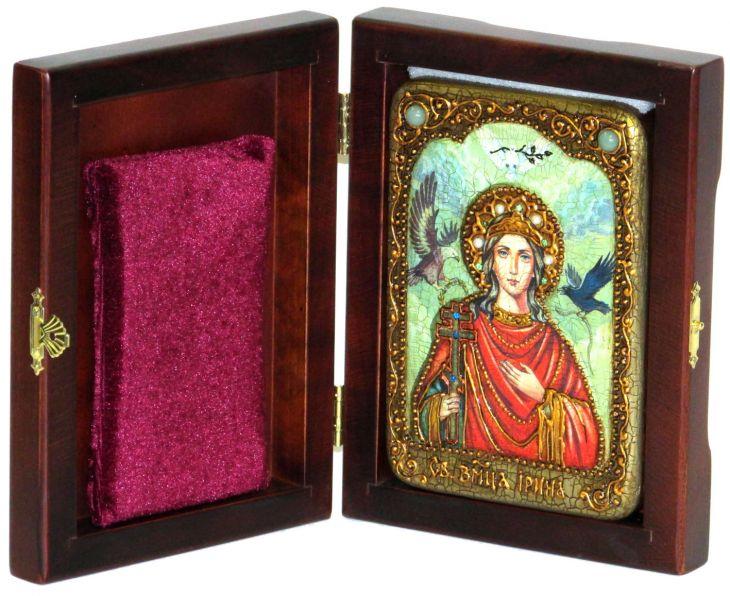 Инкрустированная настольная икона Святая Великомученица Ирина Македонская (10*15 см, Россия) на натуральном мореном дубе, в подарочной коробке