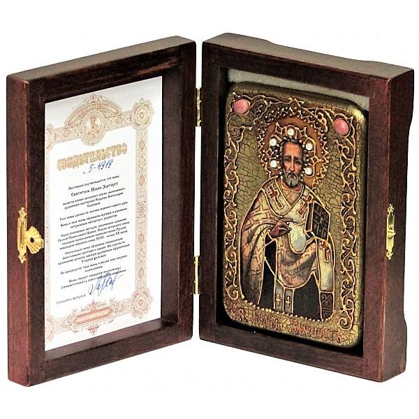 Инкрустированная рукописная икона Святитель Иоанн Златоуст (10*15м., Россия) на натуральном мореном дубе в подарочной коробке