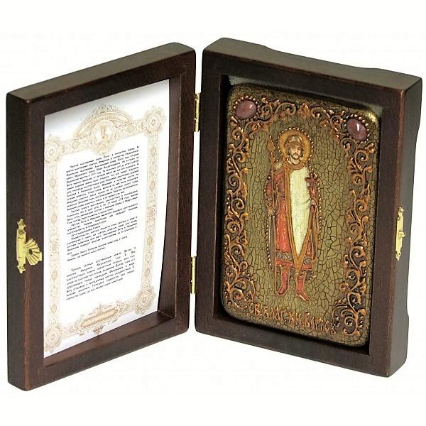 Инкрустированная настольная икона Святой благоверный князь Борис (10*15 см, Россия) на натуральном мореном дубе, в подарочной коробке